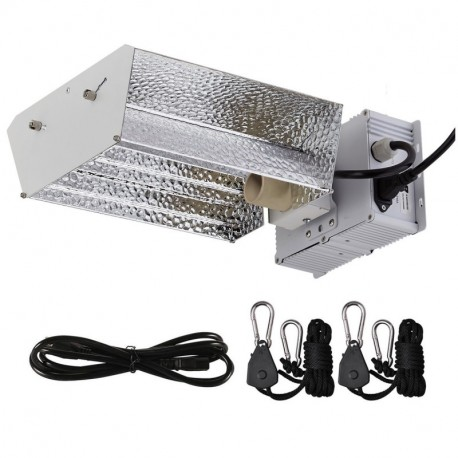 BloomGrow Hydroponics CMH 315W 120/240V Grow Light Hood Reflector (No Bulb) w/ 315w Digital Ballast 120V Power Cord 1 Pair Rope Hanger for Hydroponic Plant Growing System (Open Kit)