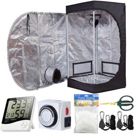 BloomGrow 20''x20''x48'' High Reflective Mylar Hydroponic Grow Tent with Waterproof Removable Floor Tray + Hydroponic Accessories Grow Tent Kit for Indoor Plant Growing (20''x20''x48'' Kit)