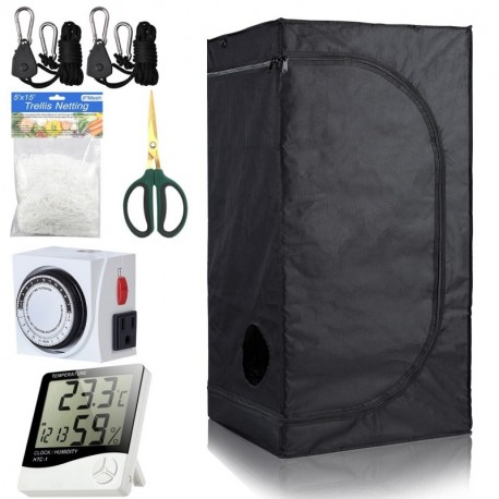 BloomGrow 16''x16''x48'' High Reflective Mylar Hydroponic Grow Tent with Waterproof Removable Floor Tray + Hydroponic Accessories Grow Tent Kit for Indoor Plant Growing