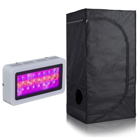 BloomGrow 300W LED Full Spectrum Grow Light +16''X16''X48'' 600D Mylar Waterproof Grow Tent with Plastic Corner Indoor Hydroponic System Kits